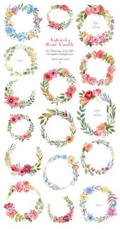 Buy Watercolor Wreaths Collection (Set) by Astaru on GraphicRiver. Watercolor wreaths and frames collection (set) Roses, peonies, green leaves, brunches, berries and more in 30 wreath. Watercolor Flower Wreath, Floral Watercolor, Flower Art, Simple Watercolor, Watercolor Design, Art Flowers, Watercolor Cards, Watercolor Paintings, Watercolor Trees