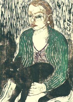 Girl with Cat | color woodcut, about 1930 | Joachim Rágóczy