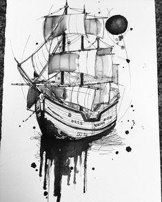 Flash sharing page 🖊 ( Illustration Tattoo, Ink Illustrations, Boat Painting, Sketch Painting, Sketch Drawing, Diy Tattoo, Tattoo Ship, Tattoo Art, Maritime Tattoo