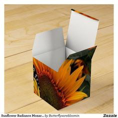 Sunflower Radiance Monarch Butterfly Party Favor Boxes
