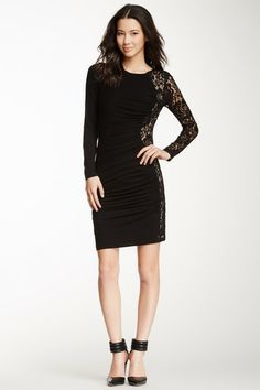 Cynthia Steffe Jordana Ruched Lace Panel Dress by Non Specific on @HauteLook