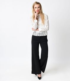 1930s Style Black Textured Flared Leg Trousers