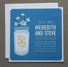 wildflowers + mason jar save-the-date for minted.com by cheerupcherup, via Flickr
