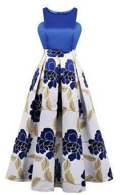 Blue Floral Print A Line Midi Cocktail Party Dress