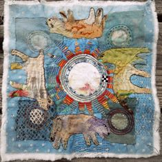 Jude Hill, Living nine, 18 September Hand-stitched. Art Textile, Textile Artists, Creative Textiles, Sewing Art, Embroidery Applique, Embroidery Stitches, Fabric Art, Fiber Art, Collage