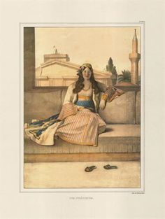 """Athenian woman. Handpainted lithograph by Louis Dupre from the album """"Voyage a A…"""