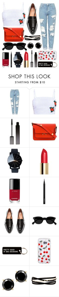 """roses are red🥀"" by natcon16 ❤ liked on Polyvore featuring Topshop, Serge Lutens, Marni, Chanel, MAC Cosmetics, H&M, Various Projects and Kenneth Jay Lane"