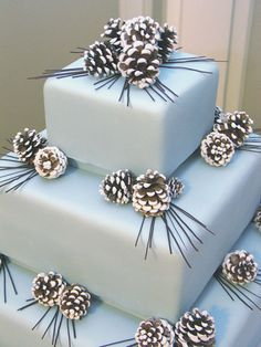Pine Cones - This three tier ice blue creation was dressed perfectly for winter with Sugared Pinecones and Dark Chocolate Pine needles. Our bride, Amy, brought us a picture of this cake from a Martha Stewart Weddings magazine.  She quickly found out that we had also ripped out that page in hopes of finding a bride crazy enough to get married in winter in Minnesota, so that we could make the cake.  Well, she was our girl!  It was an arctic 14 degrees below zero on her wedding day, but that