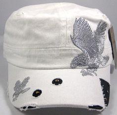 Vintage Bling Stitched EAGLE Cadet Style Hat - White Castro Cap