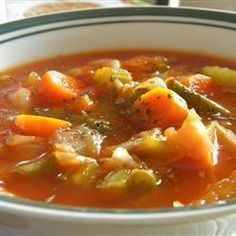A package of onion soup mix flavors the tomato broth in which six different vegetables are combined with shredded cabbage in this fat free, low-calorie soup. Collard Green Soup, Cabbage Fat Burning Soup, Cabbage Soup Diet, How To Cook Corn, How To Cook Quinoa, Baby Food Recipes, Soup Recipes, Healthy Recipes, Immune System