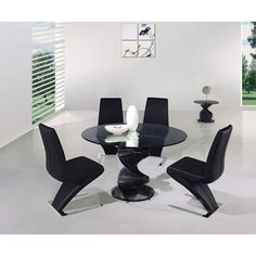 Amelia Smoked Glass Dining Table And 4 Black Dining Chairs
