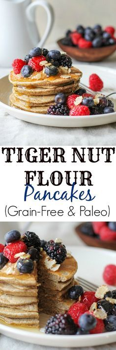 Gluten-Free Grain-Free Tiger Nut Flour Pancakes (Paleo) - moist and fluffy pancakes made dairy-free and gluten-free Nut Recipes, Flour Recipes, Gluten Free Recipes, No Flour Pancakes, Pancakes And Waffles, Paleo Pancakes, Fluffy Pancakes, Delicious Breakfast Recipes, Yummy Food