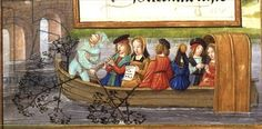 Ms 1058-1975 f.5v Musicians boating down a river, from a 'Flemish Book of Hours', c.1500 (vellum) -Creator Flemish School, (16th century) Nationality Flemish probably from Bruges; Location Fitzwilliam Museum, University of Cambridge, UK