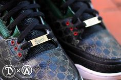 They've taken on an Air Jordan 3 and went the high fashion route, dressing it in the immortal Gucci colours of red, green and black, as well as adding plenty of other luxury details. Description from sneakerfreaker.com. I searched for this on bing.com/images