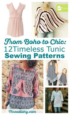 I love these women's tunic sewing patterns. Great to wear when it's too cold to wear a dress but I still want to something pretty and feminine. Bonus: I get to hide my butt too! Here's a great collection of tunic sewing patterns - from boho to fitted. So many lovely designs!