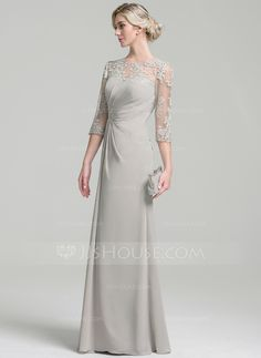 A-Line/Princess Scoop Neck Floor-Length Chiffon Mother of the Bride Dress With Ruffle (008091967) - JJsHouse