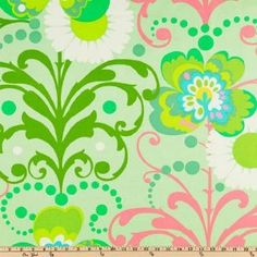 54'' Wide Amy Butler Home Decor Love Twill Paradise Garden Mint Fabric By The Yard