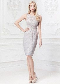 A classic silhouette combined with modern elements for an exceptionally beautiful design!  Ultra-feminine all over lace detailing features eye-catching leaf motif beading at waist.  Slim sheath skirt elongates silhouette and helps create a flawless figure.  Double spaghetti strap open back detail finishes off the look.  Available in Grey. Sizes 0-14.  Fully lined. Center back zip. Imported polyester. Dry clean.