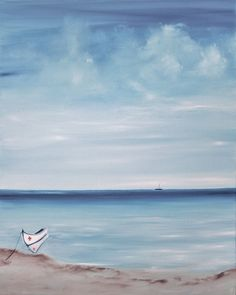 """Original Seascape oil on canvas, Fine Art painting, """"Lusitano, the little boat"""", a Portuguese name boat in Algarve water. by NELLAALAO on Etsy"""