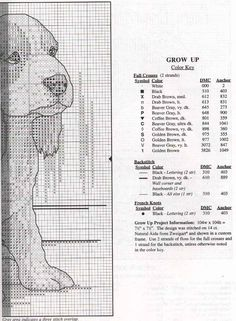 Cross-stitch Puppy - Grow Up, part 2..  with the color chart...  Cane Grande 2