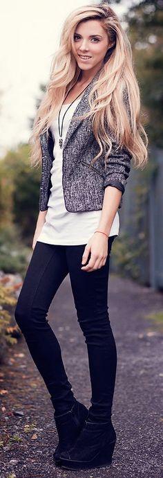 Tweed Blazer + White Top + Dark Jeans + Black Shoes