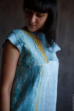 Купить Нежно-голубое валяное платье в интернет магазине на Ярмарке Мастеров