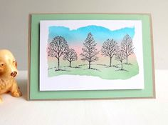Hand made card with stamped trees and sponged by MaudieMaudie
