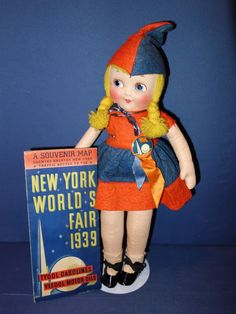 1939 world s fair doll button and map