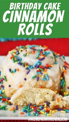 We start every birthday with these fun Birthday Cake Cinnamon Rolls! Sprinkles are fun but optional. These are a fun twist on classic cinnamon roll recipes. Cool Birthday Cakes, Mom Birthday, Birthday Ideas, Birthday Breakfast, Cake Recipes, Baking Recipes, Rolls Recipe, Sugar And Spice, Cinnamon Rolls