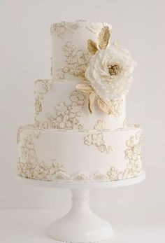 Gold and White Wedding Cake by Maggie Austin Cake