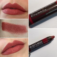 Burt's Bees Lip Crayon in Redwood Forest.  Muted brown toned red lipstick.