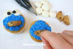 cookie monster cupcake tutorial