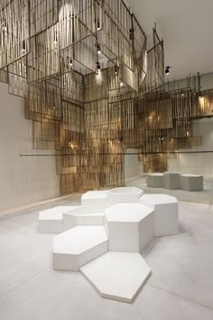 Bangkok boutique featuring woven bamboo screens.