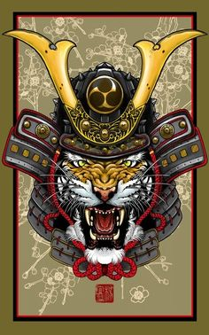 """""""Tiger Kabuto"""" by Elvintattoo - Get the poster for $22.50 on Artsider http://www.artsider.com/works/28907-tiger-kabuto"""