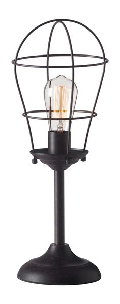 Roll table lamp has a rustic feel with classic Edison bulb surrounded by tear shaped iron frame, to instilling the look of a industrial simplistic design. Add to end or console tables, desks or confer