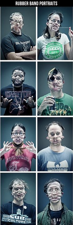 Here's an idea for a really unique family photo for this year's Christmas cards: Rubber Band Portraits!