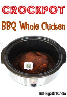 Crockpot BBQ Whole Chicken Recipe! ~ from http://TheFrugalGirls.com ~ this Slow Cooker Barbecue Chicken recipe couldnt be easier and is SO delicious! #slowcooker #recipes #thefrugalgirls #main-course #recipes #dinner #recipe #easy