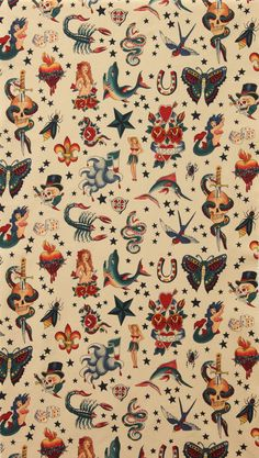 Tattoo Alexander Henry fabric, natural, skull mermaid fish sea, goth rockabilly