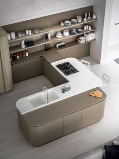 XXL VOL. 3 - worktop in Hanex white, shelves and tall units are in thermo structured Nordic elm. White Shelves, Work Tops, Design Kitchen, Bathtub, The Unit, Storage, Furniture, Home Decor, Design Of Kitchen