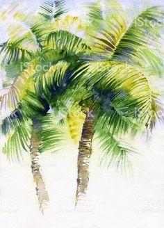 Акварельная живопись с тропическими пальмами Сток Вектор Стоковая фотография