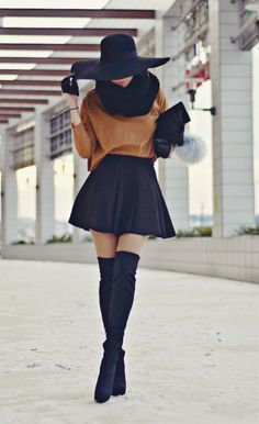 Brown Sweater, Scarf, Floppy Hat, High Waist Skirt, Half Gloves & Over The Knee Boots
