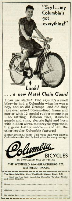1935 Ad Columbia Bicycles Westfield MA Metal Chain Guard Balloon Tires Youth Boy | eBay