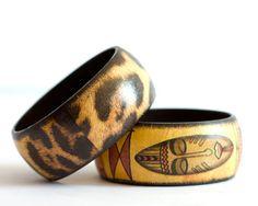 Tribal Bracelets, Ethnic Africa Mask, Leopard Safari Brown Bangle, Set of 2 Wood Bangles, 20% OFF Jewelry, $25.60