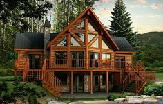 Dakota Log Home Plan by Timber Block - The Dakota is a favorite in Timber Block's Classic Series. With its incredible wall of windows, t - Log Home Floor Plans, Lake House Plans, Log Cabin House Plans, Plan Chalet, Log Home Living, Log Cabin Homes, Log Cabins, Log Cabin Exterior, Mountain Cabins