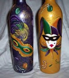Wine Bottle Painting | HANDPAINTED MARDI GRAS WINE BOTTLE - by Crystal Crosby from GLASS WORK