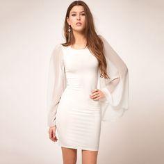 #idreammart  #dress  #freeshipping White Polyester & Chiffon Long Puff Sleeve Mini Pencil Dress - iDreamMart.com
