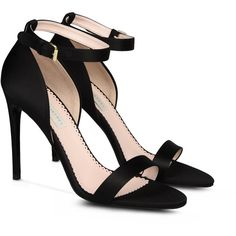 Stella McCartney Black Silk Satin Sandals ($740) ❤ liked on Polyvore featuring shoes, sandals, heels, zapatos, ankle strap shoes, ankle tie sandals, black sandals, black heel shoes and black shoes