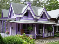 Purple Gingerbread Cottage in Martha's Vineyard. Take me away.