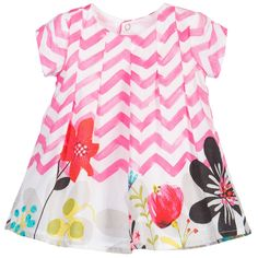 Catimini Baby Girls Pink Zig-Zag Cotton Dress
