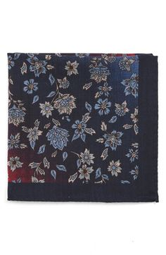Ted Baker London Paisley Floral Wool Pocket Square